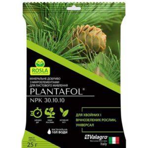 Комплексное минеральное универсальное удобрение для хвойных и вечнозеленых растений Плантафол 25 г NPK 30.10.10