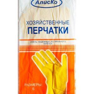 Перчатки латексные хозяйственные Алиско размер L, упаковка 12 пар