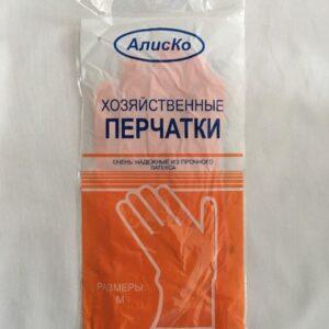 Перчатки латексные хозяйственные Алиско размер M, упаковка 12 пар
