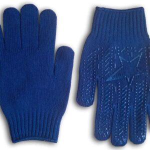 Перчатки х/б плотные с ПВХ заливкой Звезда синие, упаковка 10 пар